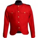 GHW-02 Canadian Police Style Cutaway Tunic in Red Gabardine Wool with Navy Collar and Epaulettes