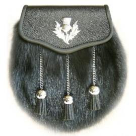 Black Muskrat Sporran - Thistle - Chain