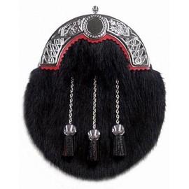 Black Muskrat Sporran with Leather