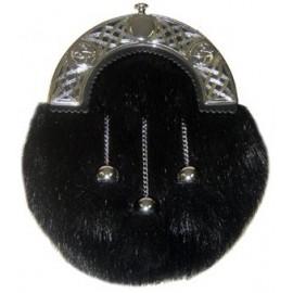 Faux Fur Sporran - Black with Black