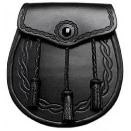 Black Leather Celtic Rope Sporran