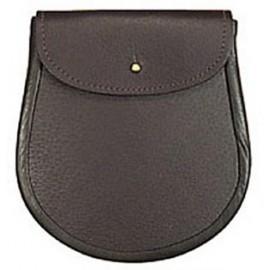 Brown Leather Military Sporran (No Tassels)