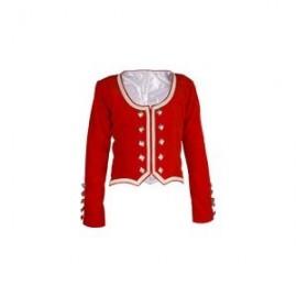 GHW-04 Bright Red Velvet Highland Dance Jacket full sleeve