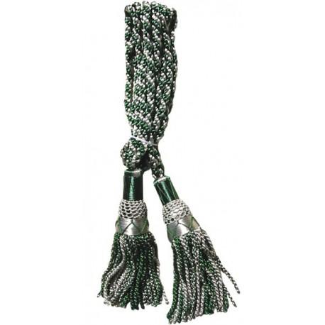GHW-12 Silver / Green Silk Bagpipe Cords